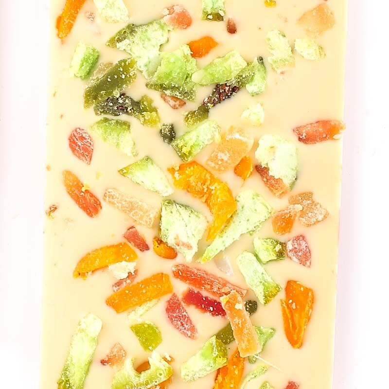 Meyveli Beyaz Tablet Çikolata 110g - Thumbnail